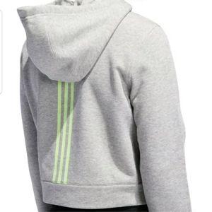 Adidas Cropped Pullover Hoodie Medium Gray